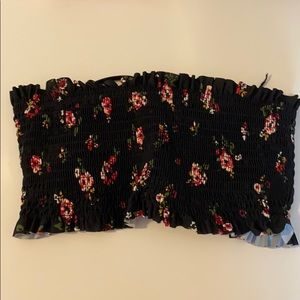 strapless black and floral bathing suit top